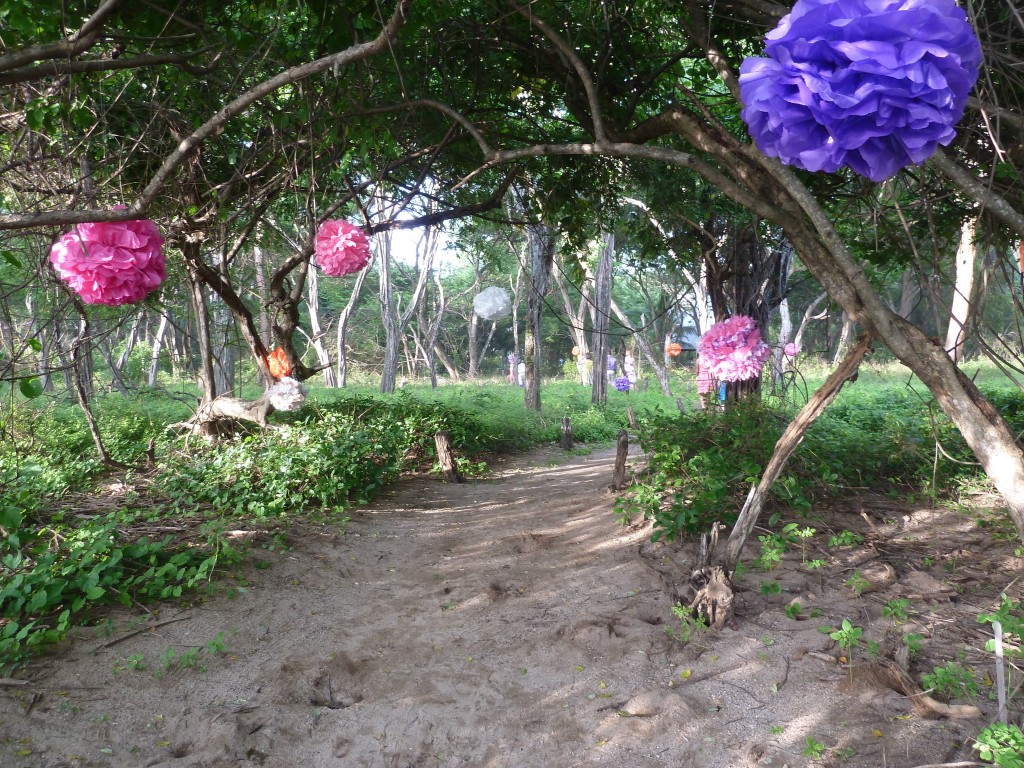 Sandy path leading to the beach for wedding ceremony in Costa Rica