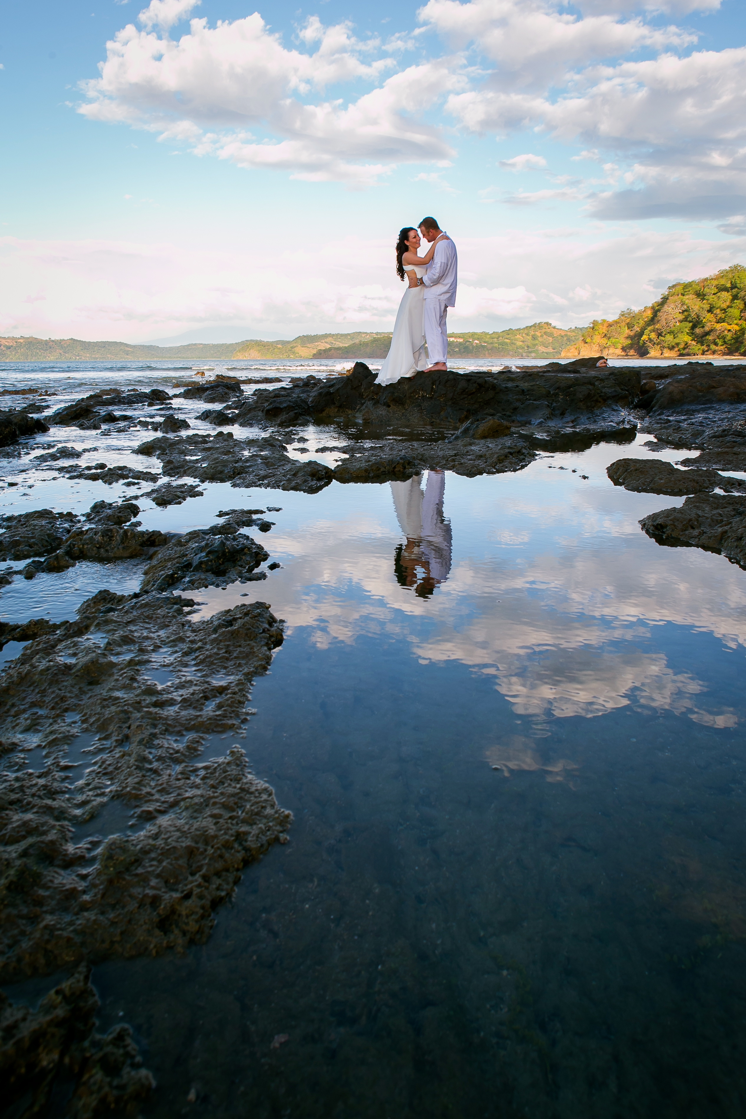 couple on Costa Rican Beach reflection