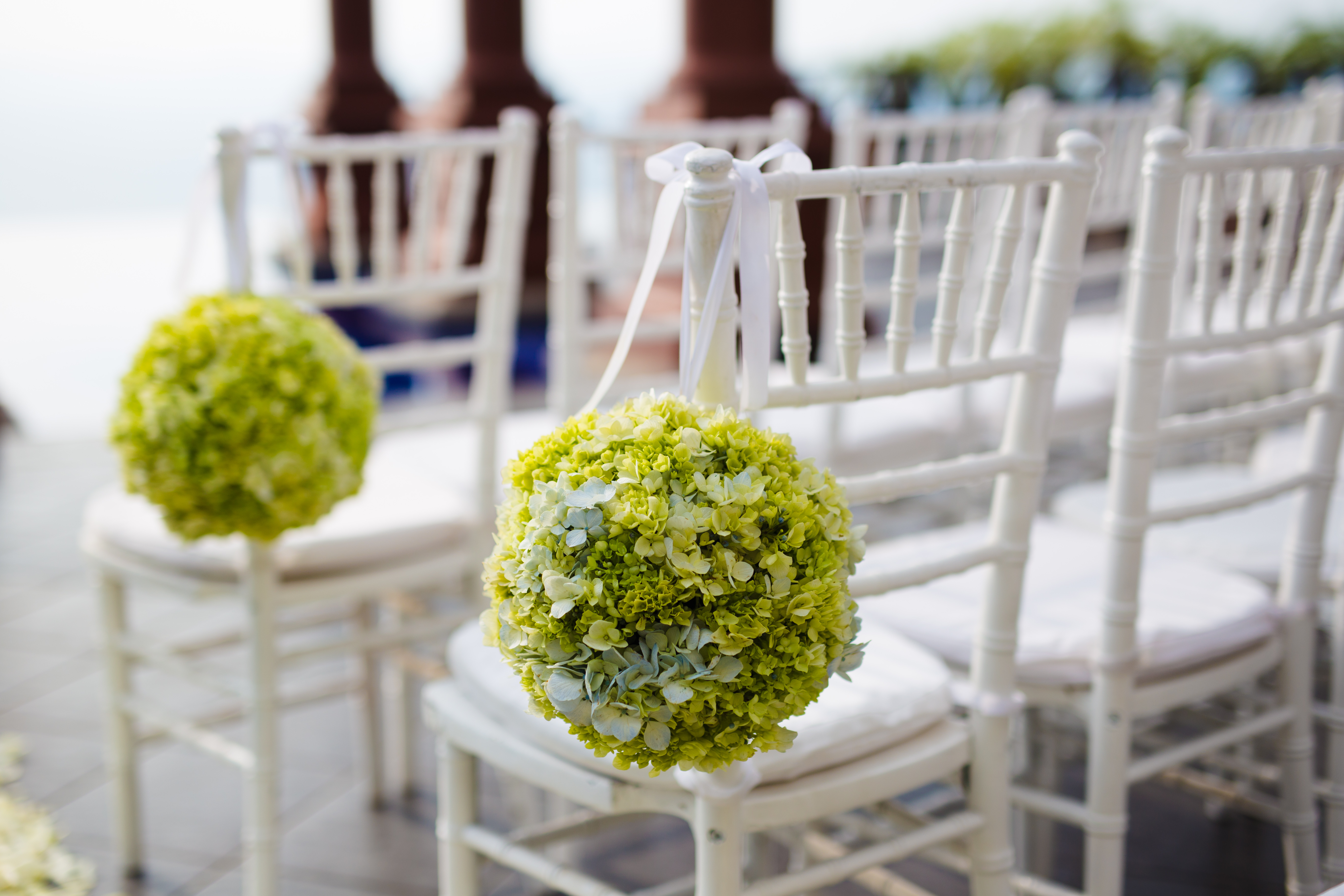 hydrangea balls on aisle chairs zephyr palace