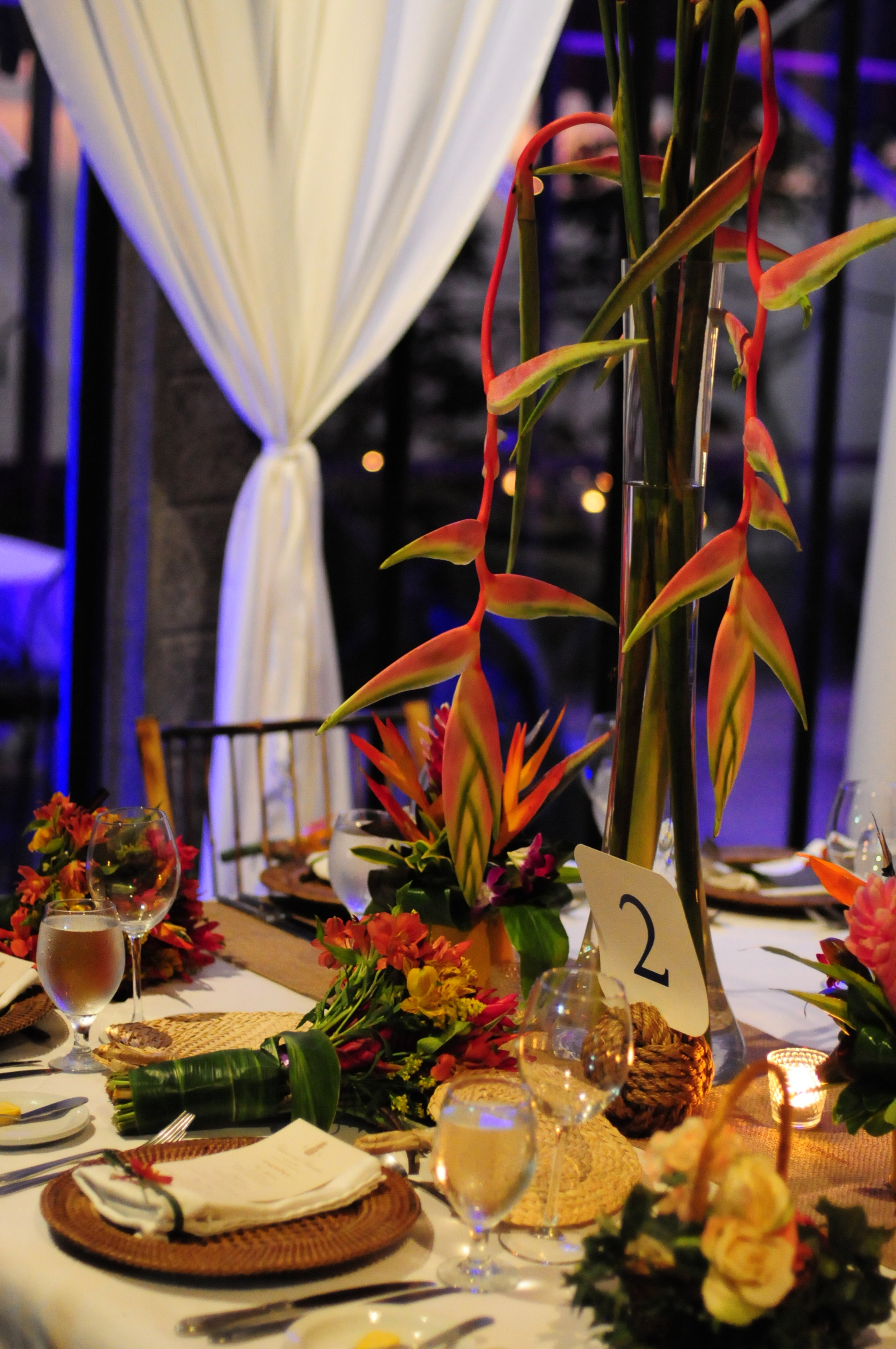 tropical table and bouquet