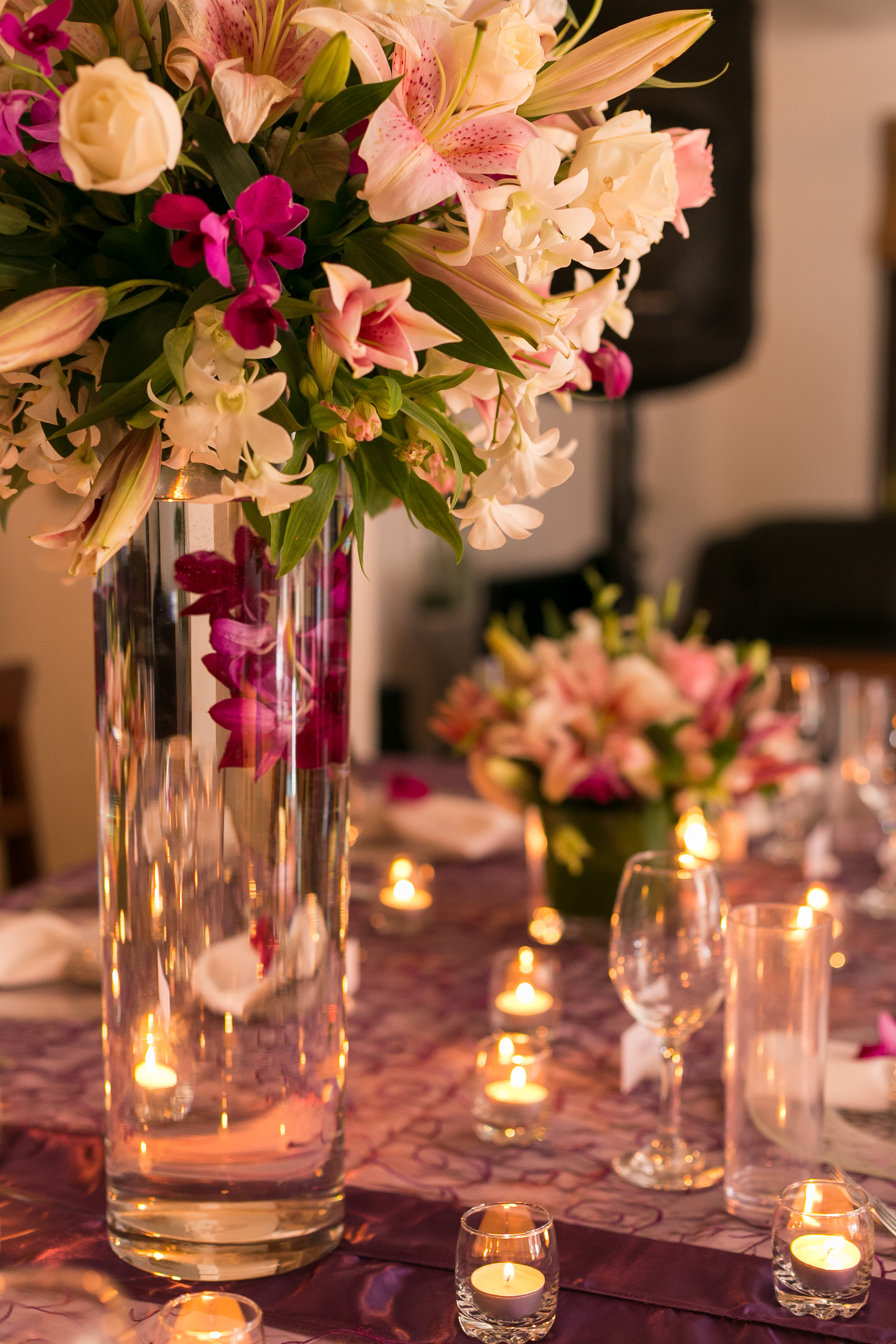 purple, white, lilac tall and short centerpieces