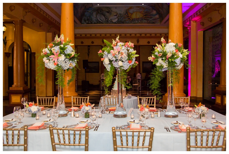 head table decor with tall arrangements