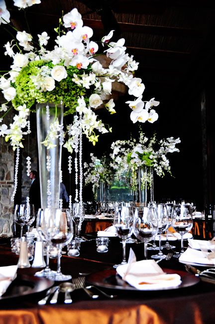 table decor with crystals and orchids