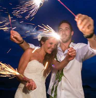 Wedding couple under the supermoon at the beach