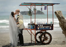 Wedding couple celebrating with a kiss next to a snowcone cart