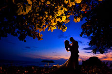 Couple under the moonlight on their honeymoon at Costa Rica