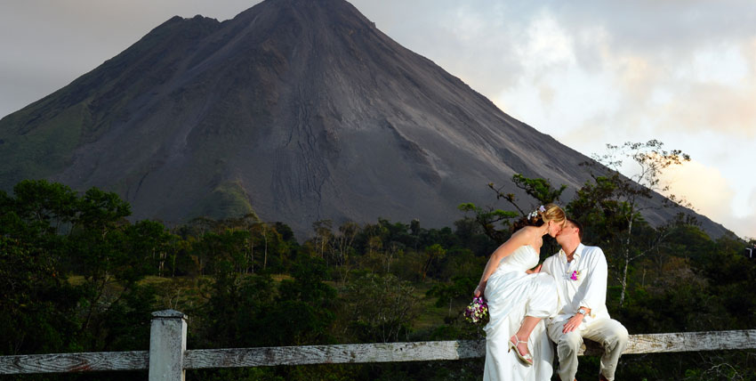 Bride in wedding dress on the beach, Costa Rica